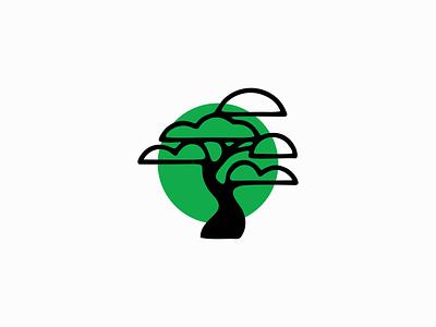 Bonsai Logo clean simple emblem icon modern green nature asia china tree bonsai illustration symbol branding design vector mark identity logo