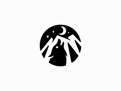 Howling Wolf Logo emblem icon organic circular wild pack howling animal mountain moon wolf illustration symbol branding design vector mark identity logo