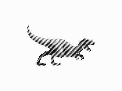 Scratchboard Velociraptor Logo abstract emblem icon prehistoric extinction lines sctratchboard animal velociraptor extinct dinosaur illustration symbol branding design vector mark identity logo