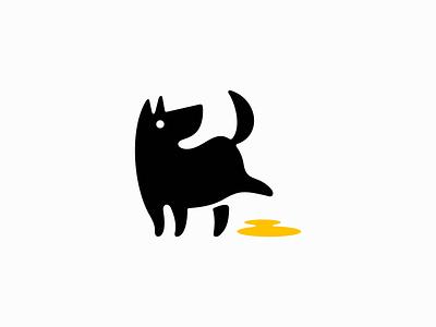 Peeing Dog Logo icon animal cute vet mascot funny leak pee peeing puppy pet dog illustration symbol branding design vector mark identity logo