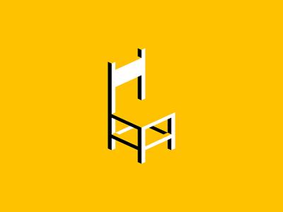 Geometric Chair Logo negative space interior home icon modern splat seat yellow geometric furniture chair illustration symbol branding design vector mark identity logo