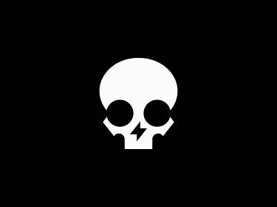 Skull And Lightning Bolt Logo modern light bones emblem icon death minimalist spark bolt lightning skeleton skull illustration symbol branding design vector mark identity logo