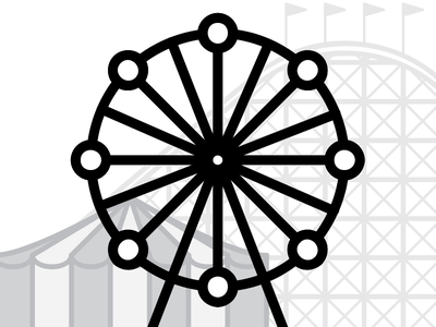 First sketch of a small carnival illustration roller coaster circus tent ferris wheel carnival