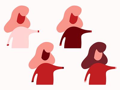 Ladies in red cajun shrimp salmon maroon pink red ladies lady women girl woman people vector design illustration