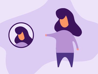 Purple Lady avatar persona character woman lady purple design vector illustration jensenwarner