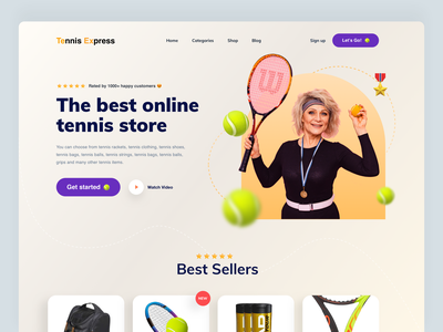 Sports Online Tennis Shop Website template website design tennis landing minimal product designer graphic design design ui exploration website concept visual design visual art ecommerce design online shop landing page webdesign sports website