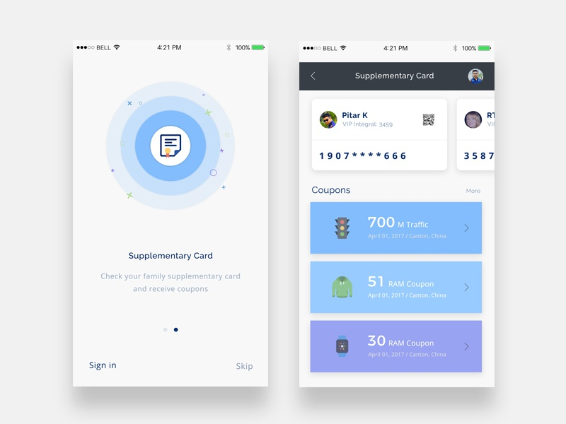 Supplementary Card ux ui app card supplementary tasks performance panel mobile ios goal daily