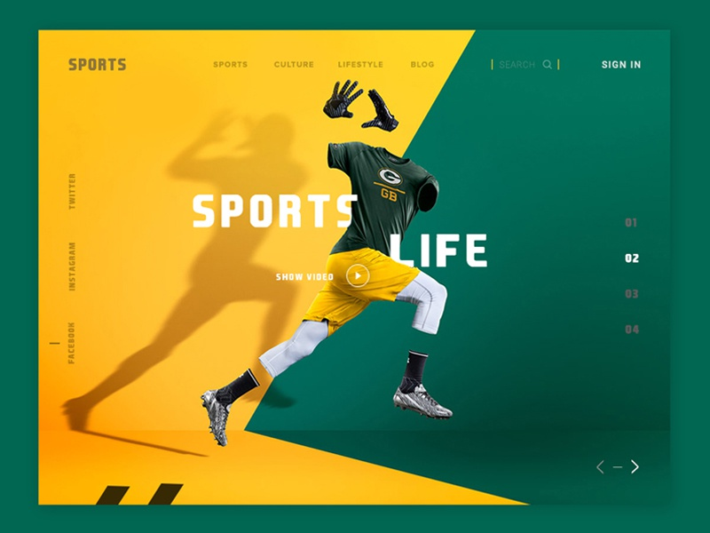 Conceptual Web UI - Sports  website #Exploration website design web ux ui sports page product map interface header plyer