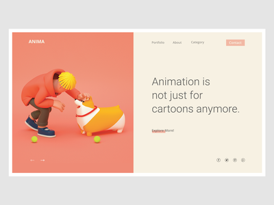 Conceptual Web UI - Animation Agency  #Exploration website webdesign ux ui landing interaction agency web concept color bright animation