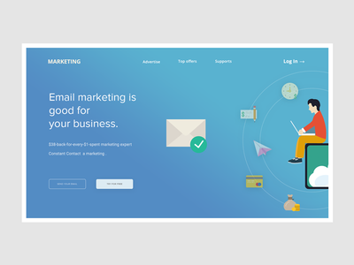 Conceptual Web UI - Email Marketing website  #Exploration ix ui subscription growing leads page landing gradient solution marketing email