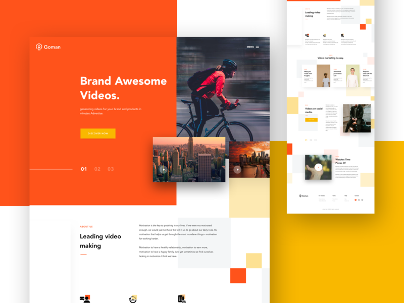 Video Advertisement Website page interaction ecommerce concept agency product minimal web design modern webdesign typography landing page design design landing website web ux ui color shapes creative design minimal flat video advertisement website