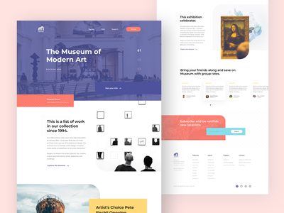 #Exploration | Museum Website illustration curltur fine art exploration flat page design museum museum of art gallery dekstop clean art minimal webdesign design ux landing website web ui