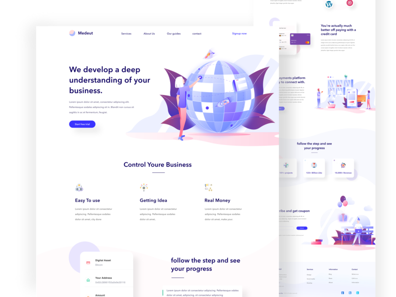 Landing page exploration product agency flat design typography app website branding webdesign illustration minimal landing web landing page website ux design illustrations user analytics statistics homepage ui form interface icon kit saas sass b2c blockchain android ios app dashboard b2b