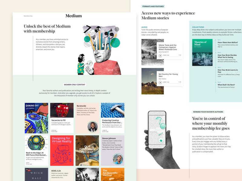 New Medium Branding and Landing Page visual design landing page pastels illustration branding website