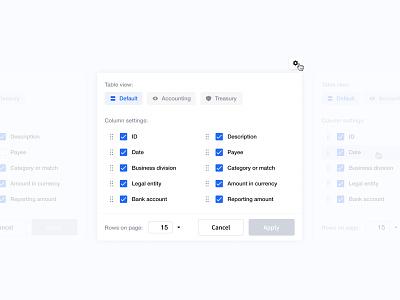 Table view - settings checkbox drag and drop settings column view table ui minimal web clean