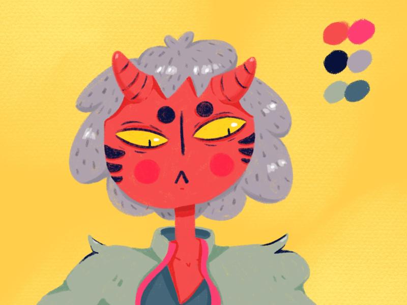 Devil girl digital art illustration procreate