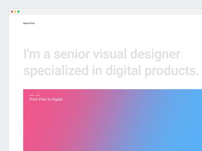 New Portfolio webdesign web blue pink homepage gradient minimal portfolio