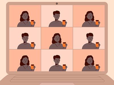 Zoom Coffeebreak vector branding design illustrator illustration illust animation virtualcoffee coffeebreak meeting zoom