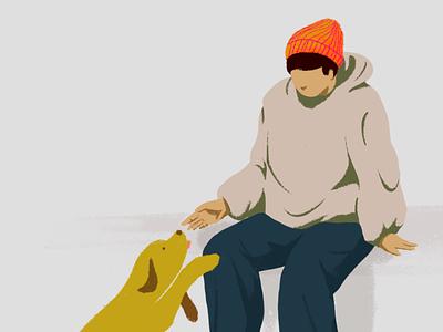 Hang out guy illust dog illustration dog