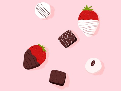 Valentine's Day strawberry chocolate valentine illustration illust