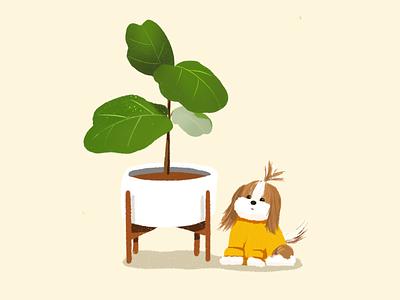 Coco & Plant modernica dog plant tree illustrator casestudy