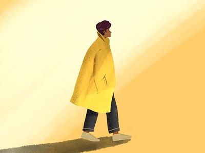 Sunny day hero ui trenchcoat guy fashion illust
