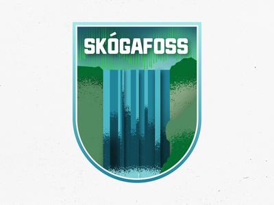 Skogafoss, Iceland illustration badge waterfall skogafoss iceland