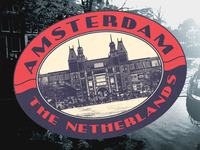 Vintage luggage sticker for Amsterdam
