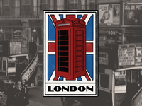 Vintage luggage sticker for London