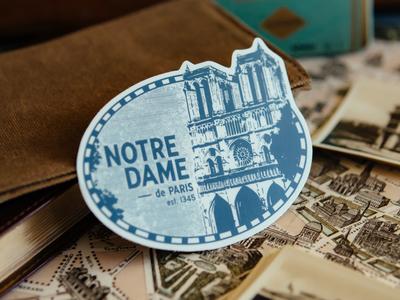 Notre Dame Vintage Luggage Sticker luggage label luggage sticker retro vintage travel france notre dame paris