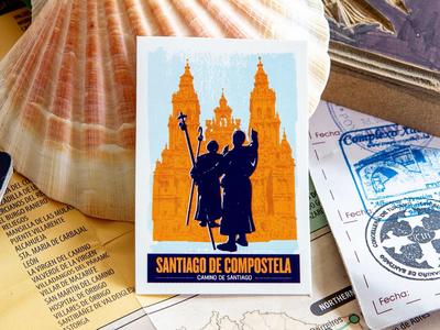 Santiago De Compostela, vintage luggage label sticker sticker luggage label retro vintage pilgrimage adventure travel spain camino de santiago camino