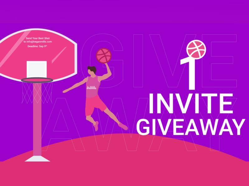 Dribble Invite Giveaway vector illustration website team web mobile app minimal branding typography ui ux design flat app ux design ui icon dribble invites dribbleinvite dribble invite