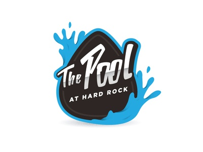 The Pool grain illustration branding logo splash water pick guitar rock hardrock pool