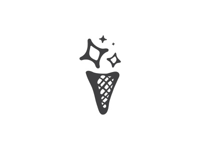 Ice Dream black cone dessert cream ice branding mark illustration logo