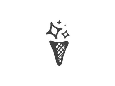 Ice Dream black cone dessert cream ice branding mark illustration logo