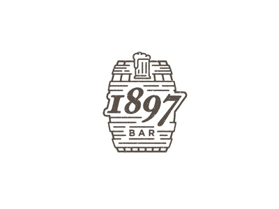 1897 Bar identity branding logo rustic brown alcohol beer texture monoline barrel bar