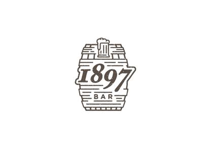 1897 Bar identity branding logo rustic brown alcohol beer texture monoline barrel bar
