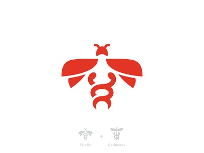 Firefly + Caduceus logo firefly caduceus bug branding mark insect fly health guidance energy medical