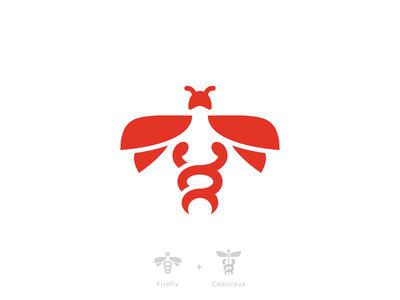 Firefly + Caduceus logo firefly caduceus bug branding mark insect fly health guidance energy medical