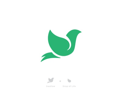 Swallow + Drop of Life logo branding swallow bird mark life health healing rebirth growth medical