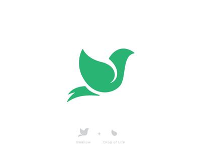Swallow + Drop of Life logo branding swallow bird mark life health healing rebirth growth medical