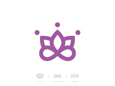 Lotus + Infinity + People logo mark branding lotus infinity knot people gathering revival community symbol medical