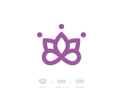 Lotus + Infinity + People logo mark branding lotus infinity knot people gathering revival community symbol medical