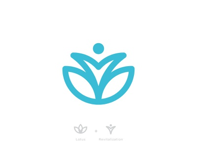 Lotus + Revitalization logo mark branding blue health revival lotus healing medical