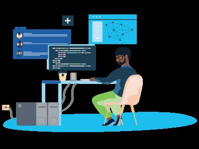 IT Guy Illustration engineer working diversity itguy