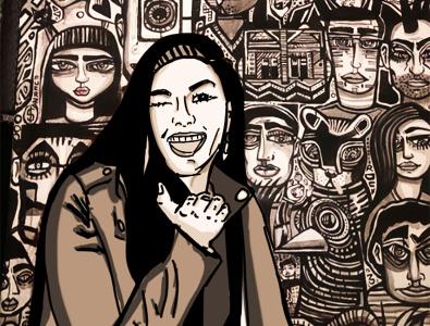 Girls merging in mural girl illustration portrait illustration artwork