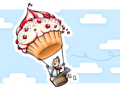 Muffin man cartoon illustration