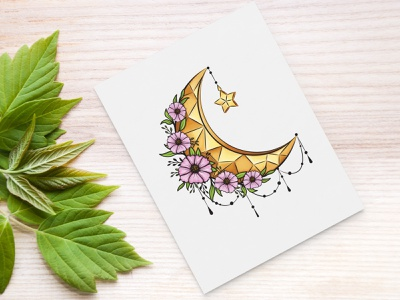 Floral moon with cosmos flowers ornamental ornament leaves digital art digital illustration drawing cosmos crescent moon nature illustration nature decor design illustration flower floral decorative