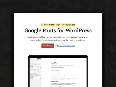 FontsPlugin Landing Page fonts website plugin typography minimal landing page wordpress