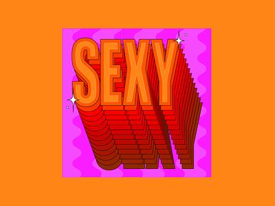 SEXY womenofdesign creativewomen womenoftype typograpgyfun stackedtype wavydesign wavylines orangeandpurple sexydesign sexytypography sexy design colour colourful typography illustration creative adobeillustator